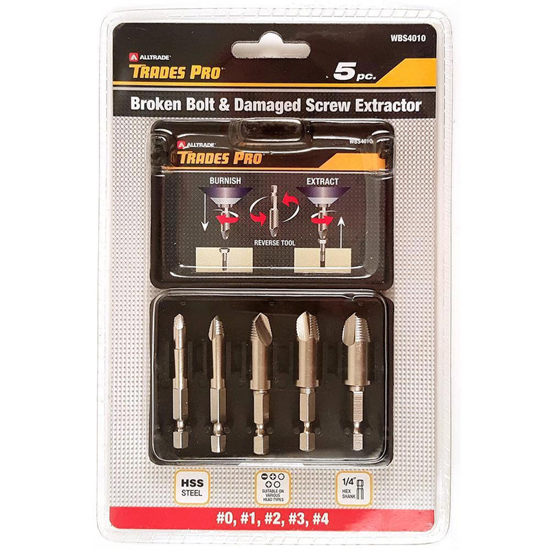 Trades Pro 5Pc Broken Bolt & Damaged Screw Extractor Set