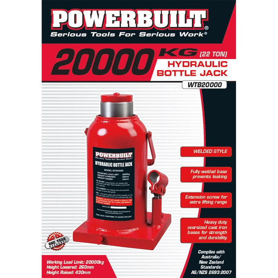 Powerbuilt 22Ton / 20000Kg Bottle Jack