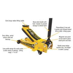 Powerbuilt 3 Ton Pro Super Duty Jack - Yellow Jacket-Trolley Jack-Powerbuilt-Herbos Equipment Limited