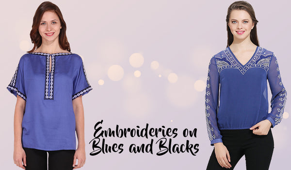Embroideries on Blues and Blacks