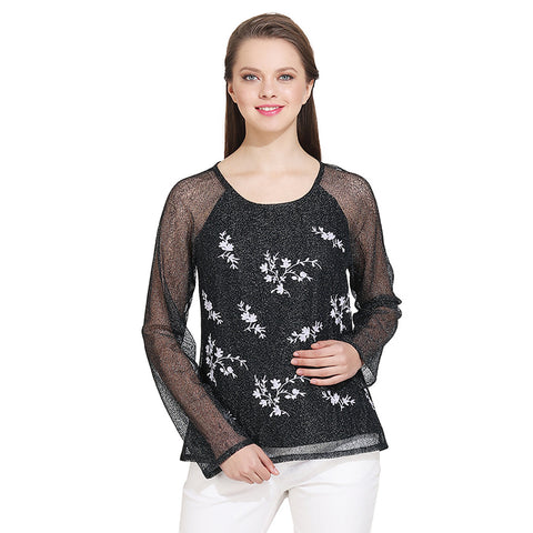 Gudi Black Net Embroidered Casual Top