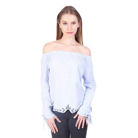 Gudi Blue Stripes Off Shoulder Cotton Casual Top
