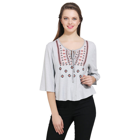 Gudi Grey Embroidered Casual Top
