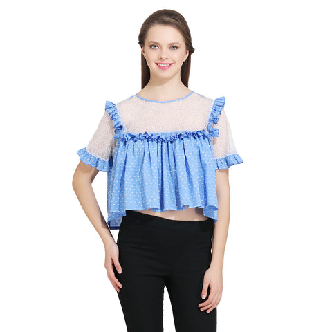 Gudi Woman Blue Cotton Crop Top