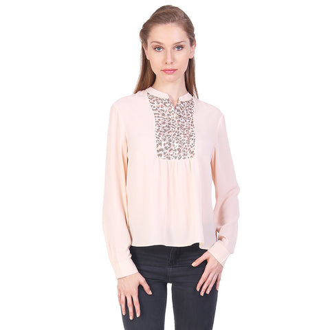 Gudi Peach Full Sleeves Poly Crepe Casual Top