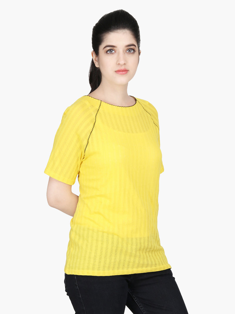 Yellow Cotton Knitted Women Top - MissGudi