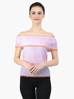White Cotton Dobby Off Shoulder Woman Top - MissGudi