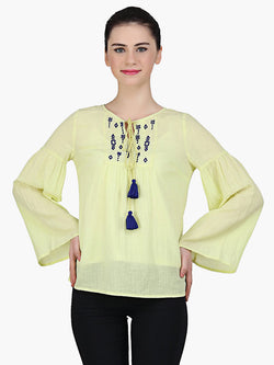 Yellow Viscose Embroidered Top - MissGudi