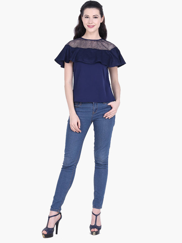Woman Blue Crepe Flowy Top - MissGudi