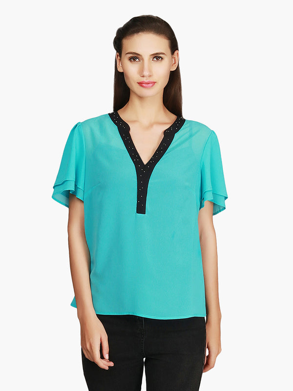 Sky Blue Embellished Georgette Top - MissGudi