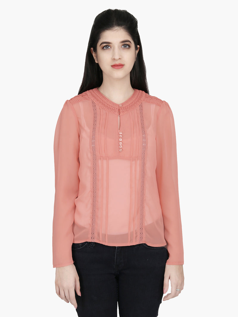 Rust Georgette Embroidered Woman Top - MissGudi