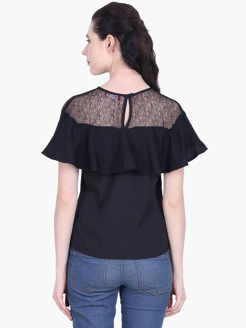 Woman Black Crepe Flowy Top - MissGudi