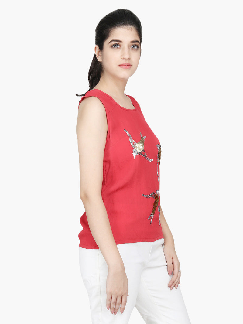 Red Moss Crepe Regular Top - MissGudi