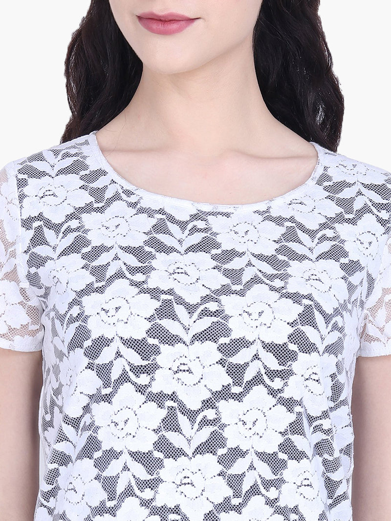 White Floral Net Woman Top - MissGudi