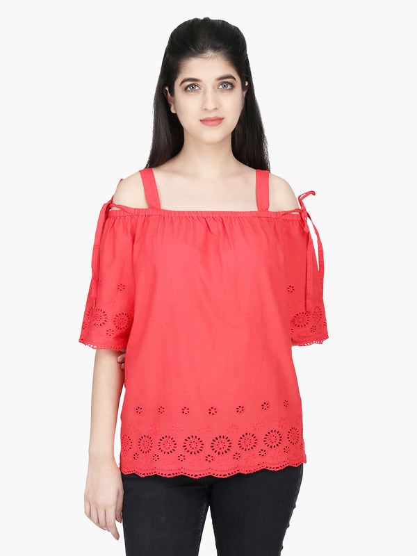 Red Cotton Schiffli Floral Woman Top - MissGudi