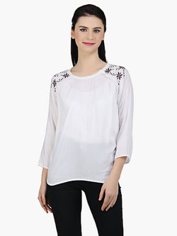 White Cotton Embroidered  Top - MissGudi