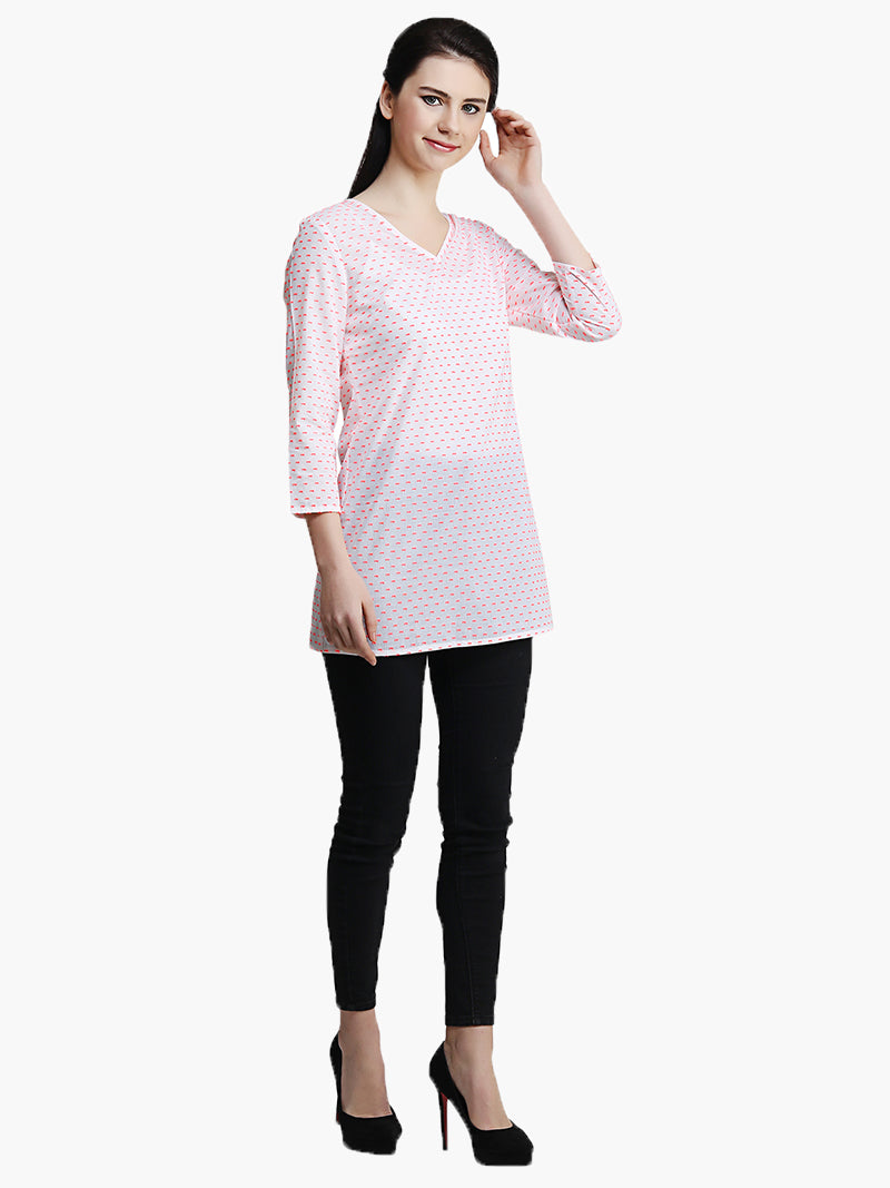 White V Neck Cotton Dobby Top - MissGudi