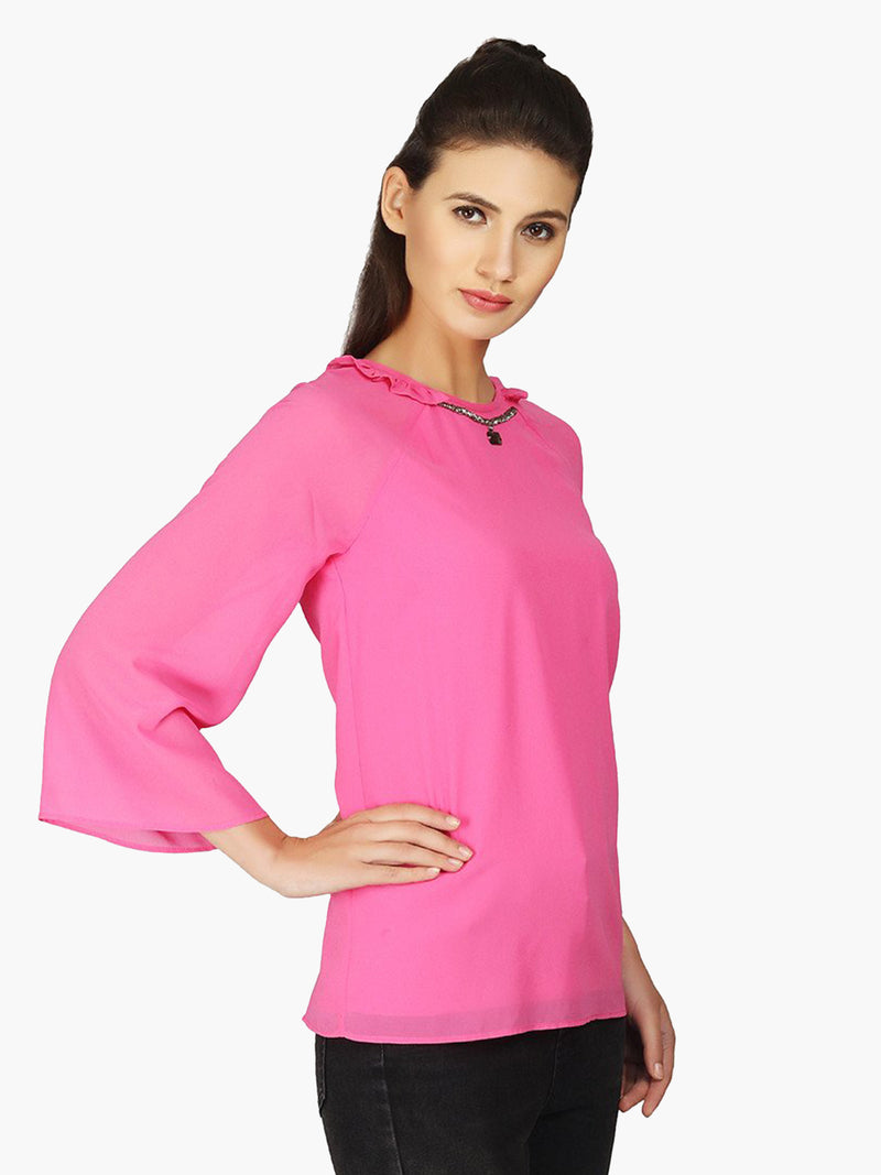 Pink Georgette Embellished Woman  Top - MissGudi