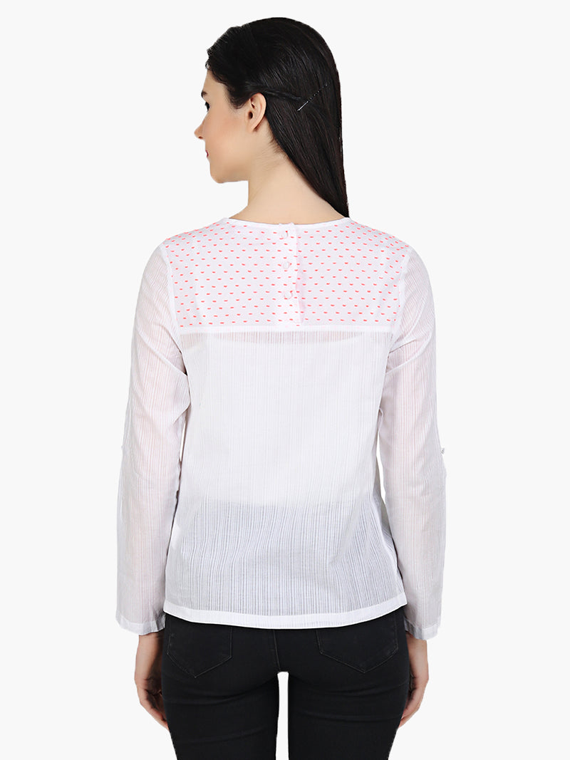 White Cotton Full Sleeve Top - MissGudi