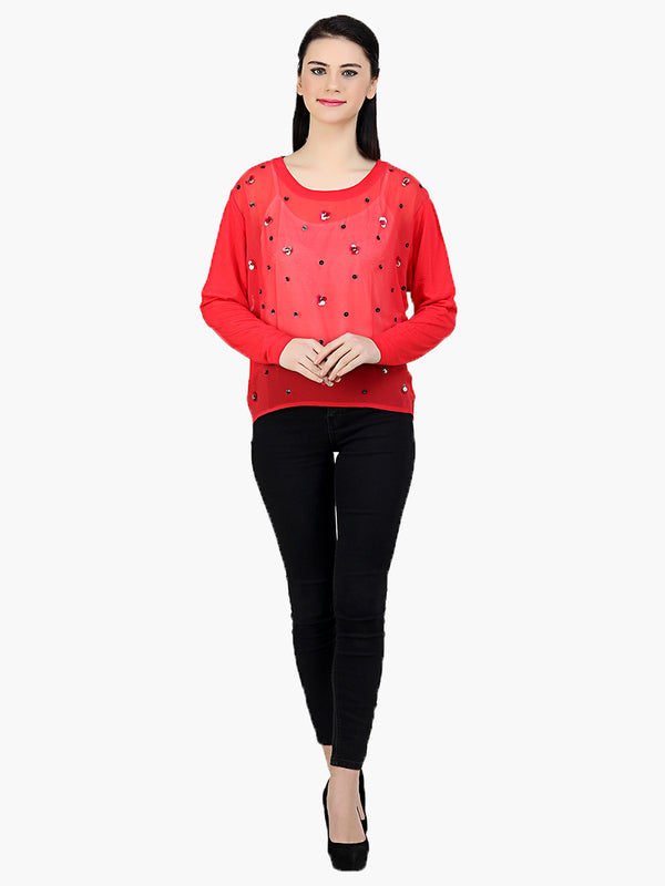 Red Embellished Women Top - MissGudi
