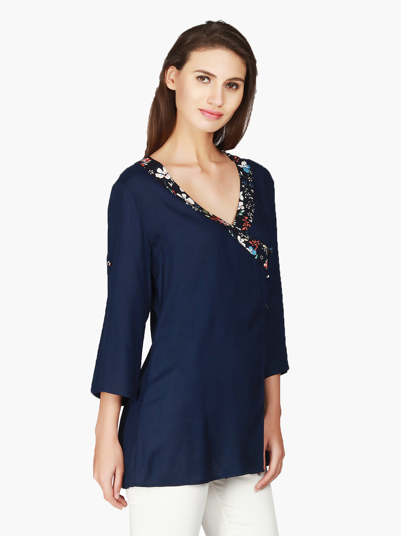 Navy Blue Viscose Woman Top - MissGudi