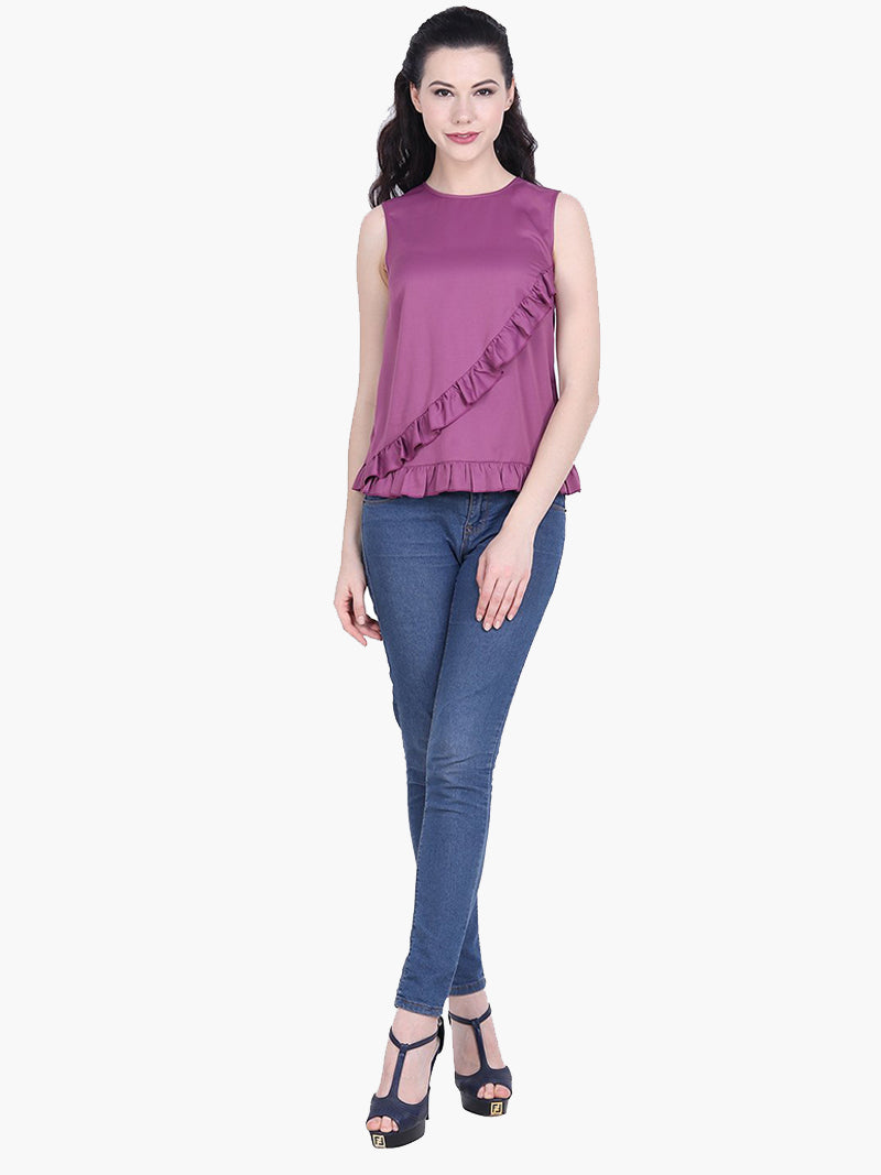Purple Poly Satin Frill Top - MissGudi