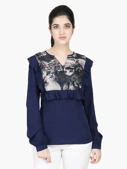 Navy Blue Crepe Women Top - MissGudi