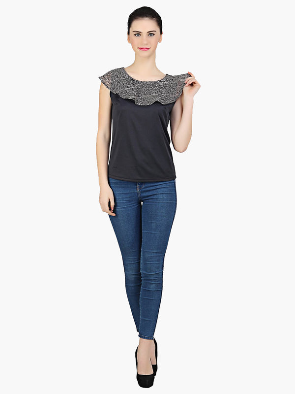 Poly Knitted Grey Printed Top - MissGudi