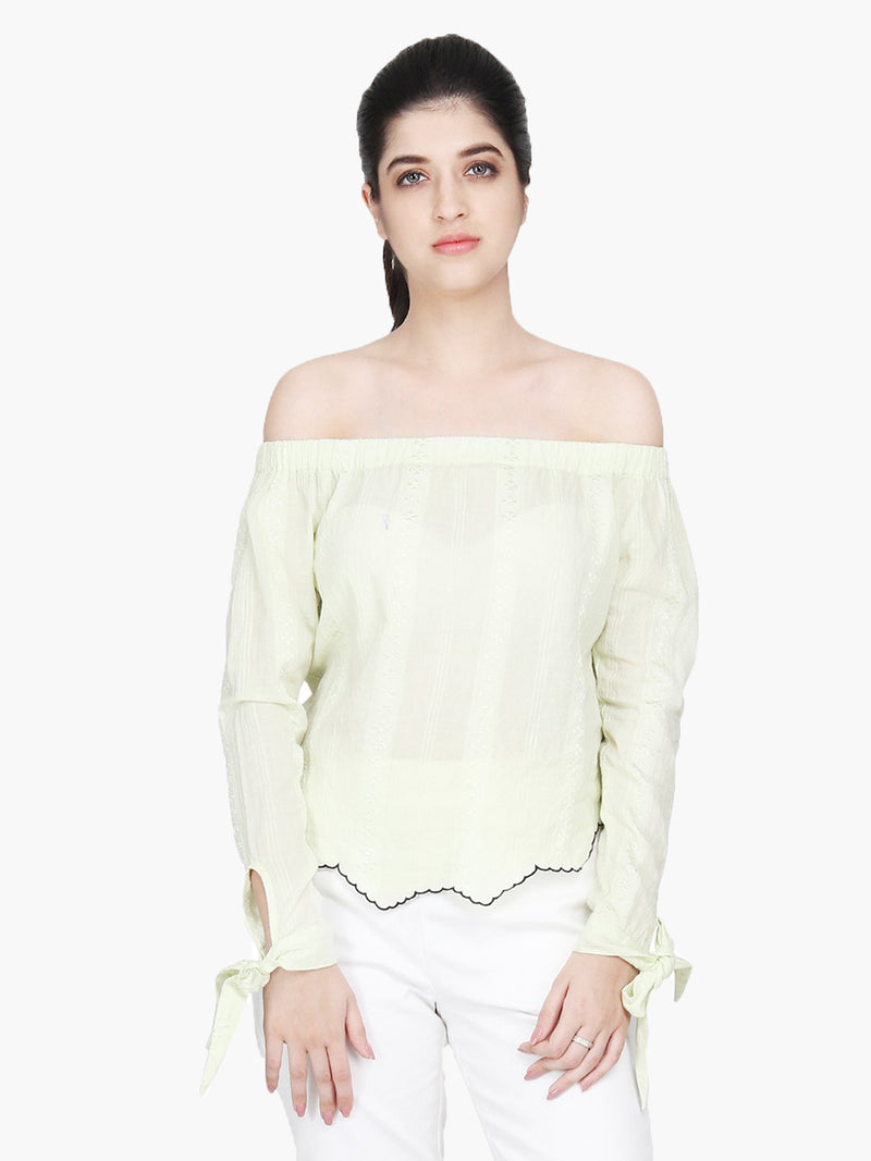 Light Yellow Cotton Dobby Top - MissGudi