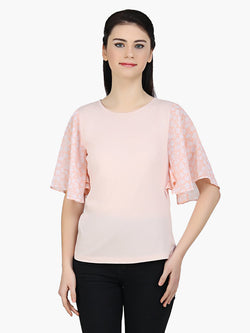 Peach Viscose Knitted Printed Top - MissGudi