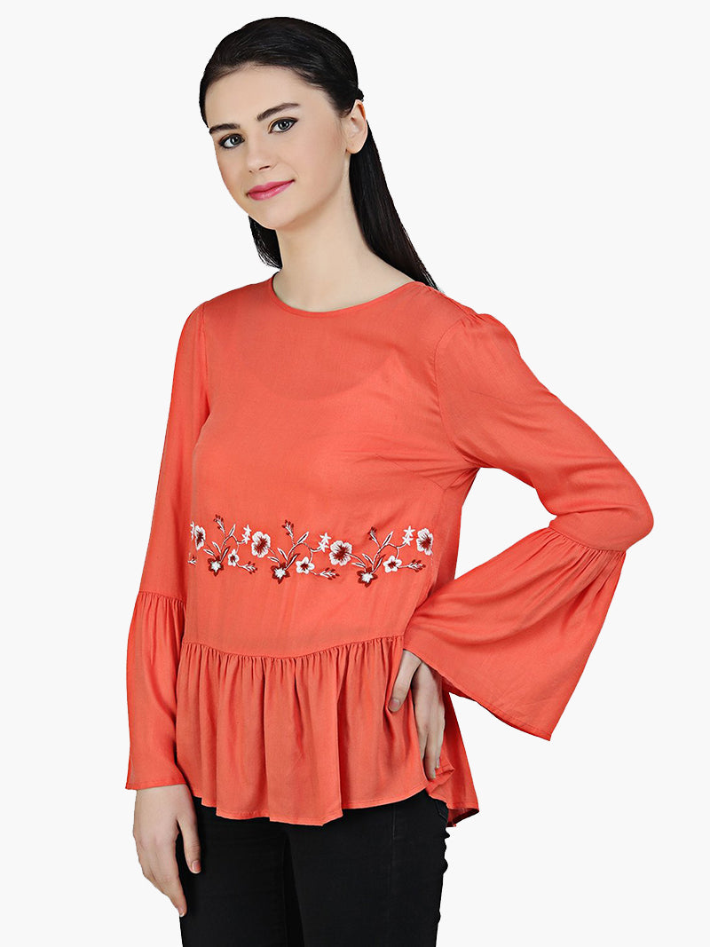 Orange Viscose Embroidered Top - MissGudi