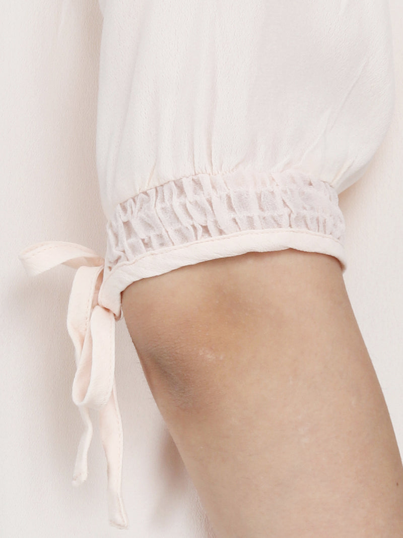 Light Peach Moss Crepe Women Top - MissGudi