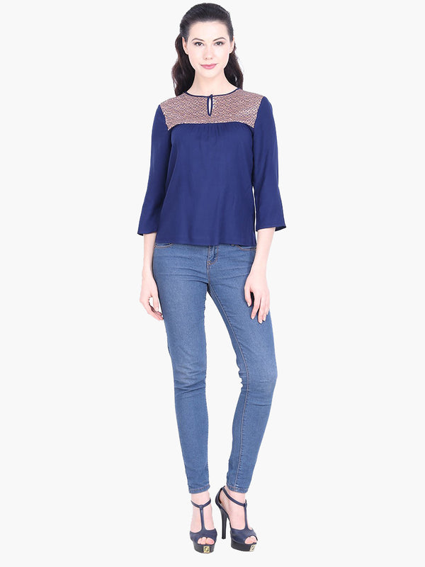 Navy Blue Embellished Viscose Top - MissGudi
