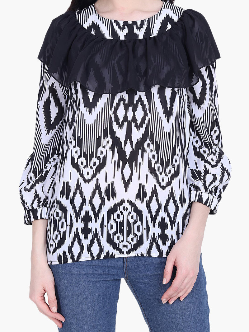 White Printed Georgette Top - MissGudi