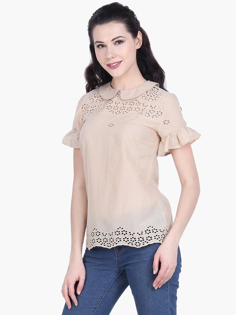 Beige Cotton Schiffli Embroidered  Top - MissGudi