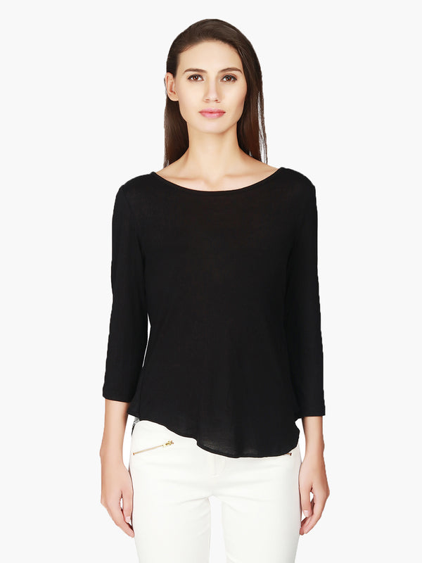 Black Viscose knitted Women Top 3/4 sleeves - MissGudi