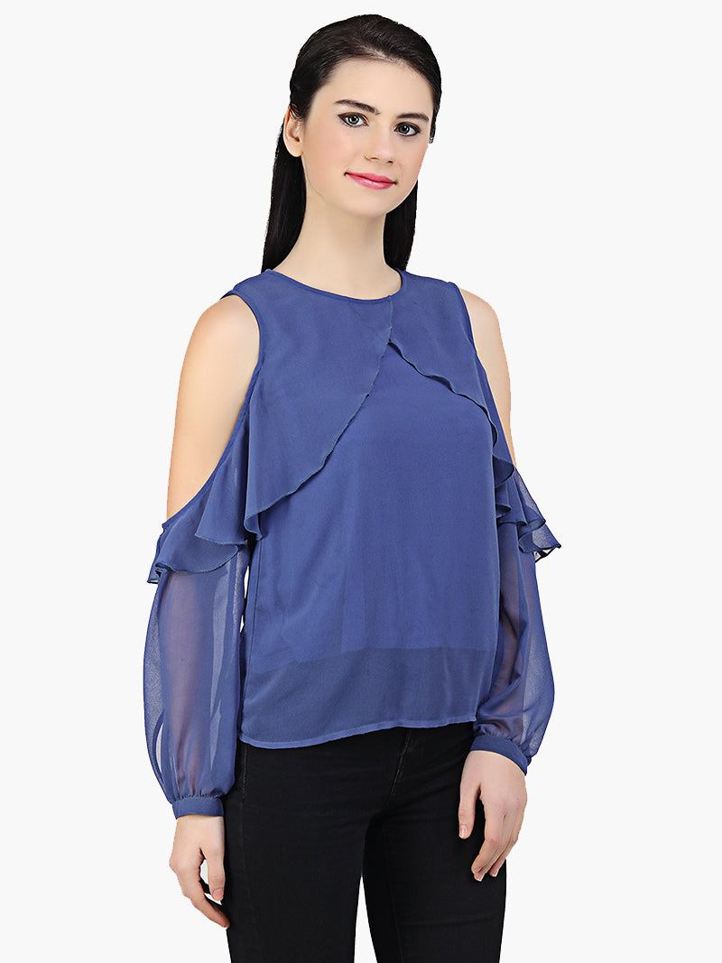 Blue Georgette Frill Top - MissGudi