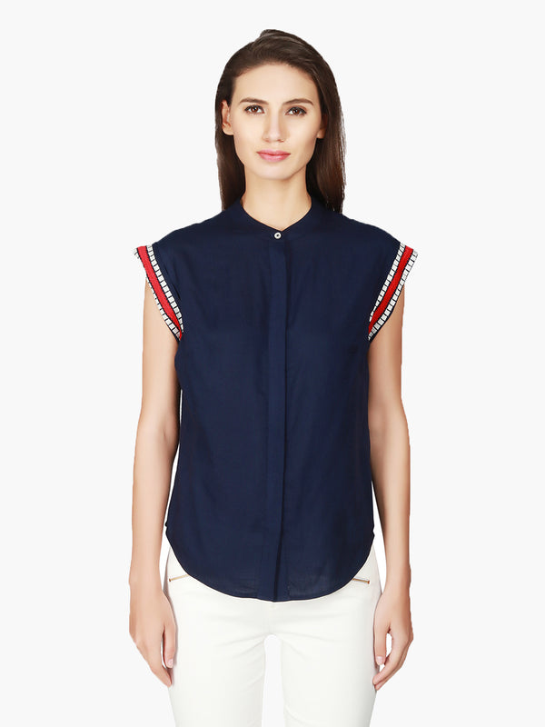 Navy Blue Rayon Women Top - MissGudi