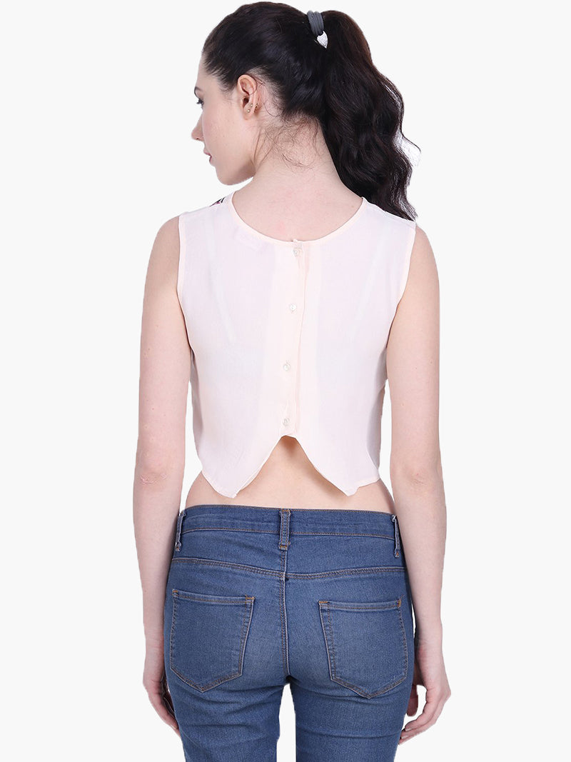 Light Pink Embroidered Crop Top - MissGudi