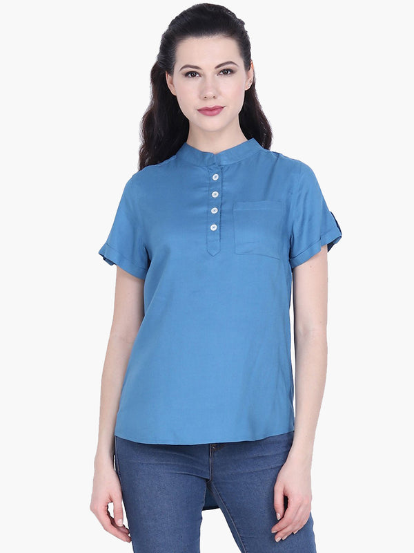 Dark Blue Viscose Top - MissGudi