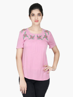 Pink Viscose Knitted Embroidered Top - MissGudi