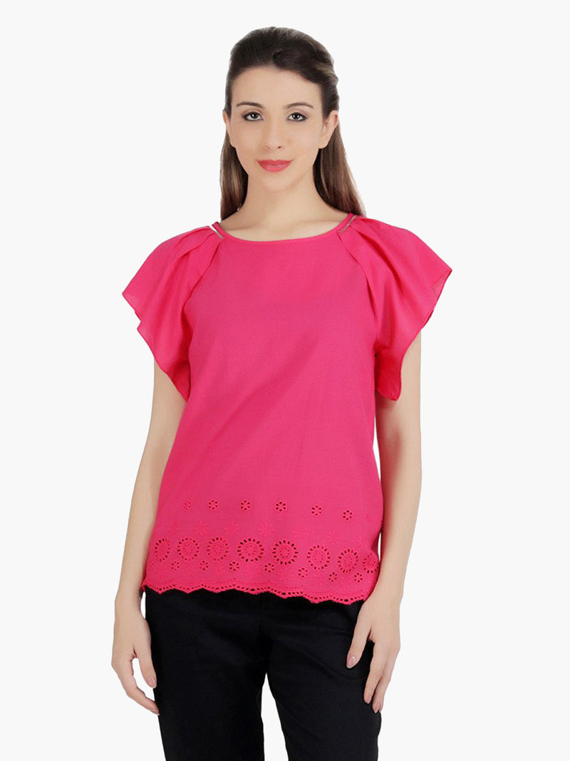Pink Cotton Women Top - MissGudi