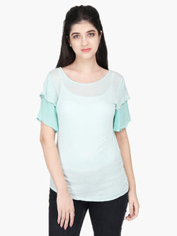 Sea Green Viscose Knitted Top - MissGudi