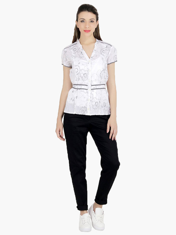 White cotton Embroidered Woman Top - MissGudi