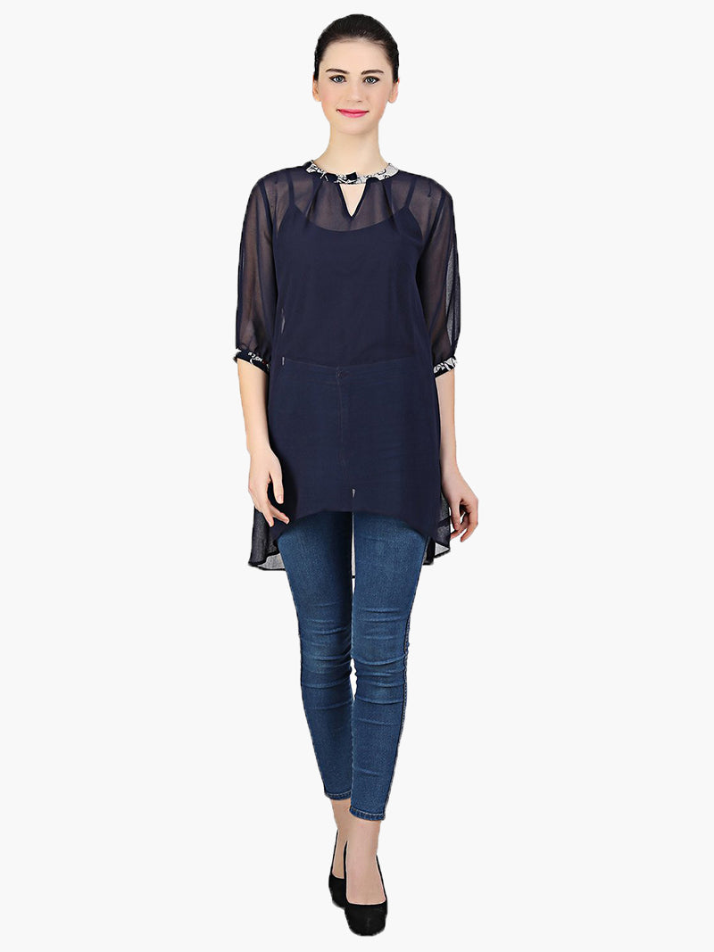 Navy Blue Georgette Full Sleeve Top - MissGudi
