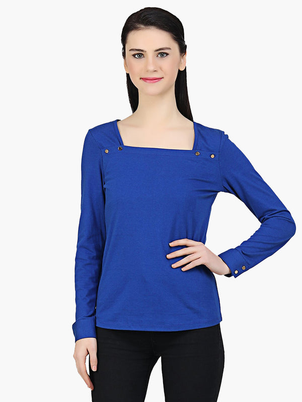 Blue Cotton Knitted Top - MissGudi