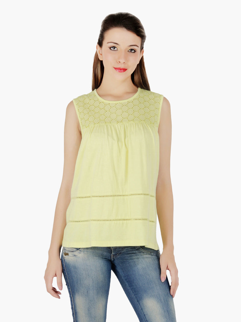 Yellow Cotton Women Top - MissGudi
