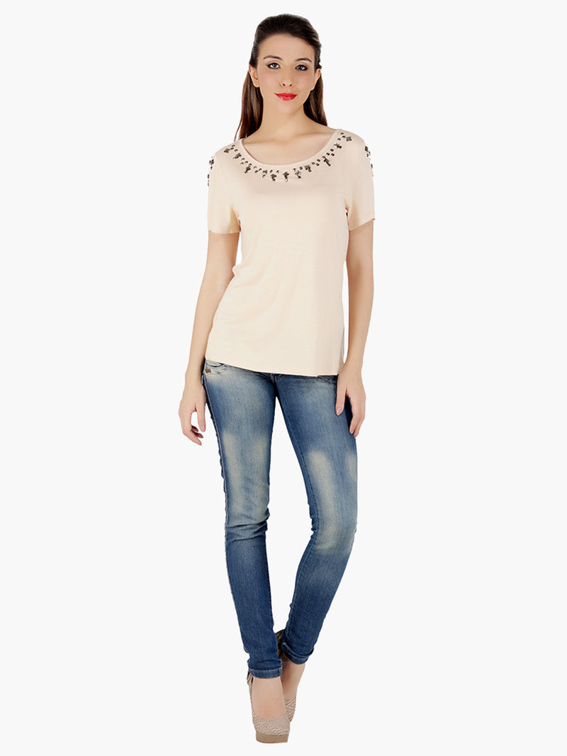 Peach Embellished Viscose  Women Top - MissGudi