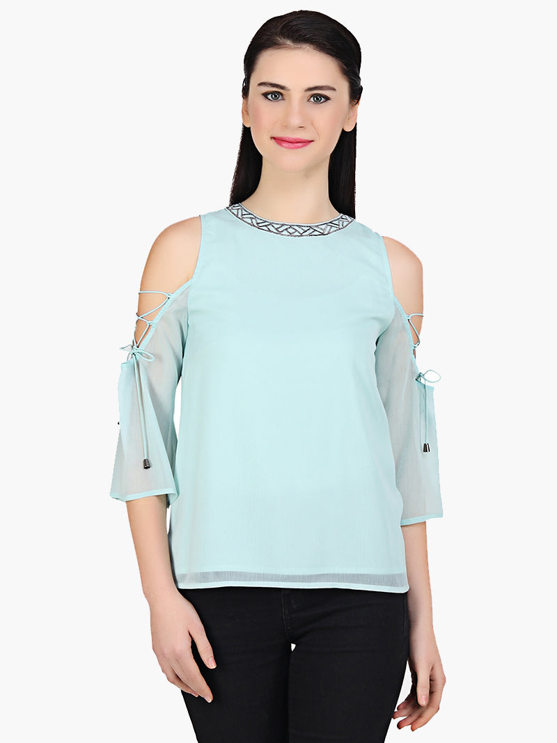 Sea Green Embroidered Chiffon Top - MissGudi