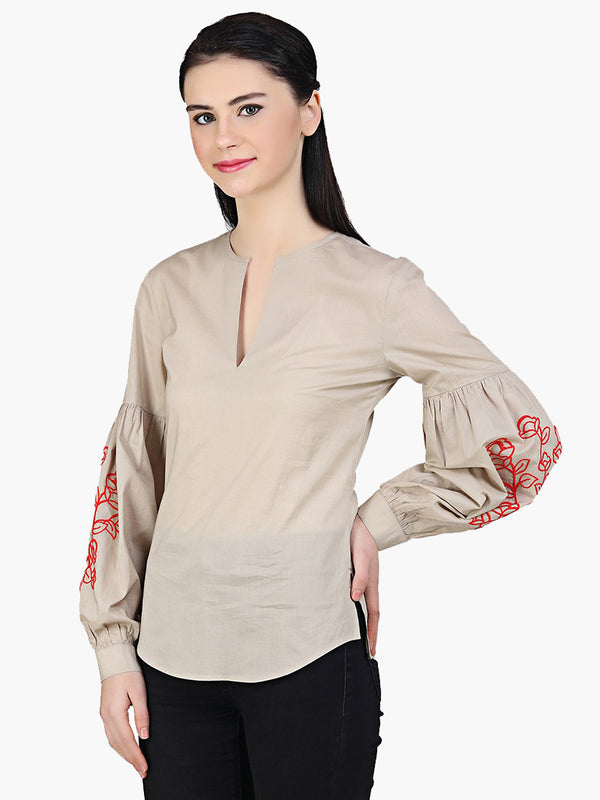 Beige Cotton Embroidered Women Top - MissGudi